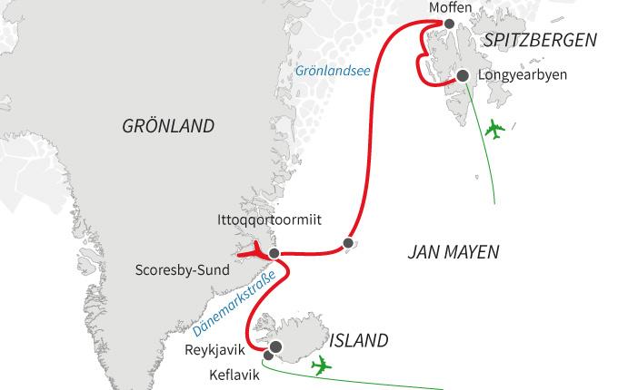 Vier arktische Inseln