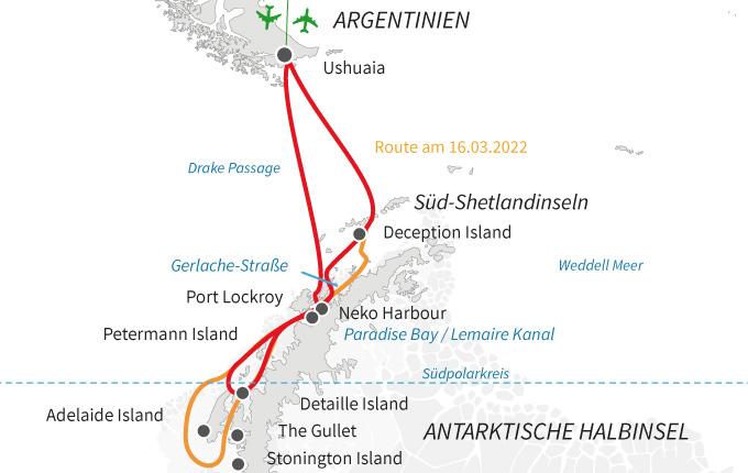 Antarktische Halbinsel und Südpolarkreis